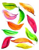 Autumn leaves watercolor. Many multi-colored autumn leaves in watercolors. autumn Stock Photos