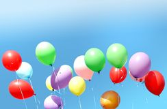 Many multi-colored balloons royalty free stock image