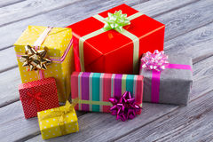 Many multi-colored boxes with gifts. royalty free stock photos