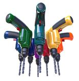 Many multi-colored drills. Many construction drills of different colors. A drill is clamped in the chuck. 3D illustration Stock Photo
