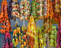 Many multi-colored healthy churchkhela is offering for sale royalty free stock photos