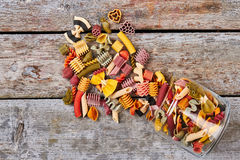 Many multi-colored pasta of different shapes. royalty free stock photography