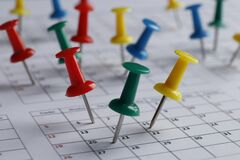 Free Many Multi-colored Pins Of Different Dates On A Calendar Close-up. Important Date. Place For Text. Royalty Free Stock Photos - 172544408