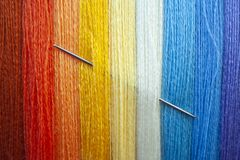 Many multi colored yarn strings for design royalty free stock photo