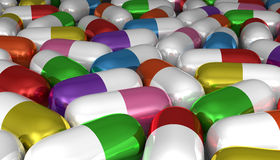 Many multicolor pills Stock Photos