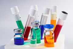 Many multicolor test tubes and bottles Royalty Free Stock Photo