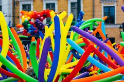 Many multicolored balloons, pride festival stock images