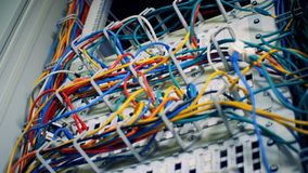 Many multicolored cables in a server room, close up. A computer with many wires at a data center stock footage