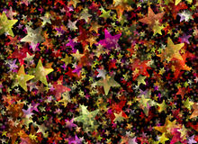 Many multicolored flying stars background Royalty Free Stock Images