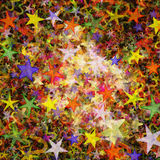 Many multicolored flying stars background. Many multicolored flying stars holiday background Royalty Free Stock Photography