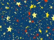 Many multicolored flying stars background. shining shapes Stock Images