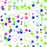 Many multicolored hearts background of Valentine's day. Love tex Royalty Free Stock Images