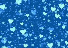 Many multicolored hearts on blue background Stock Image