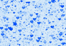 Many multicolored hearts on blue background Royalty Free Stock Photos
