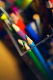 Many multicolored pencils in a box Stock Photo