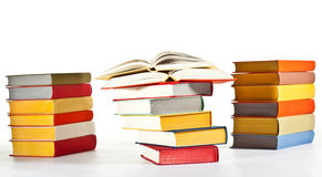 Many multicolored stacked books Royalty Free Stock Image