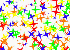 Many multicolored stars on white backgrounds Royalty Free Stock Images