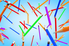 Many Multicolour Pencils Flying. 3d Rendering Royalty Free Stock Photos