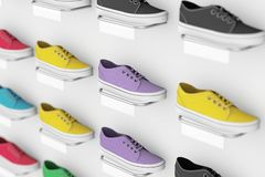 Many Multicolour Sneakers Footwear Exhibition on Shelf for Sale in Fashion Shop. 3d Rendering. Many Multicolour Sneakers Footwear Exhibition on Shelf for Sale in stock photo