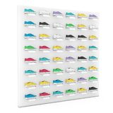 Many Multicolour Sneakers Footwear Exhibition on Shelf for Sale in Fashion Shop. 3d Rendering. Many Multicolour Sneakers Footwear Exhibition on Shelf for Sale in royalty free stock image
