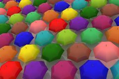 Many multicoloured umbrellas Stock Photography