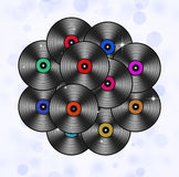 Many Music Vinyls Abstract Background Royalty Free Stock Photos