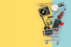 Many Musical Instruments Falling in Shopping Cart. 3d Rendering royalty free illustration