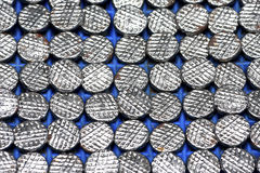Many Nail Head On The Floor Blue Plastic Stock Photography