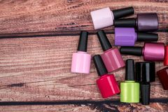 many nail polish bottle stock photos
