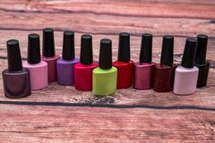 Many nail polish bottle royalty free stock photos