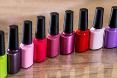 Many Nail polish colorful royalty free stock photos