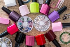 Many nail varnish with stone royalty free stock photography