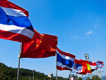 Many national flags. The image of international relations Royalty Free Stock Photos