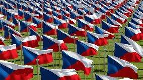 Many National flags of Czech Republic in green field vector illustration