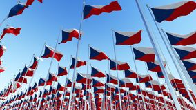 Many National flags of Czech Republic Royalty Free Stock Photos