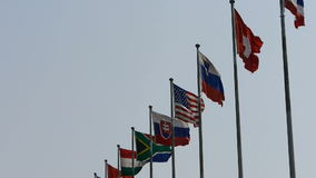 Many national flags fluttering in wind.American-flag. stock video footage