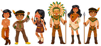 Many native american indians in costumes. Illustration Royalty Free Stock Image
