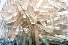 Many natural quartz crystals in the form of ice Stock Photo
