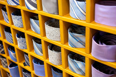 Neckties. Many neckties colored in the shop Royalty Free Stock Photo