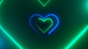 Many neon heart shapes in space, abstract computer generated backdrop, 3D render backdround. Many neon heart shapes in space, abstract computer generated Vector Illustration