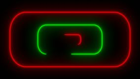 Many neon rounded rectangles in black space, abstract computer generated backdrop, 3D render. Ing stock illustration