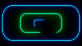 Many neon rounded rectangles in black space, abstract computer generated backdrop, 3D render. Ing royalty free illustration