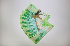 Many new banknotes of two hundred Russian rubles. royalty free stock photos