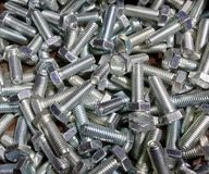 Many new bolts shine stock photos