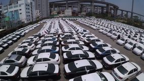 Many new cars storage 4K aerial shot. stock video footage