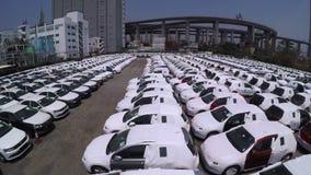 Many new cars storage 4K aerial shot. stock footage