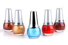 Many new nails polish on white Stock Photo