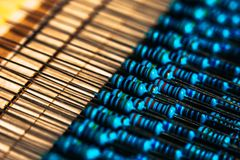 Many new resistors stay together in close-ups Stock Photo