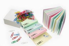 Many a new scratch paper and paper clips Stock Images