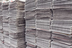 Many newspaper stacks in warehouse Royalty Free Stock Photography